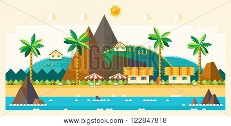 Beach summer landscape. Tourist huts on the coast, tourist village near the mountains. Vacation, relaxation, ocean, sun, palms. Vector flat illustration