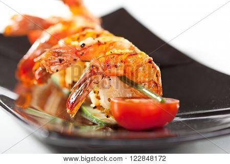 Fried Prawns Dish with Cherry Tomato