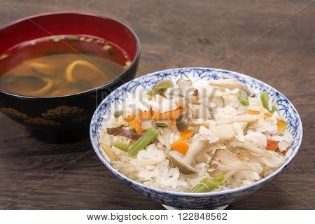Japanese boiled rice seasoned with mixed mushrooms and miso soup