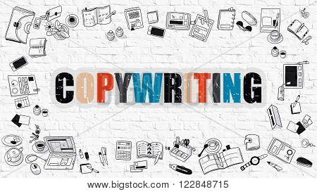 Multicolor Concept - Copywriting - on White Brick Wall with Doodle Icons Around. Modern Illustration with Doodle Design Style.