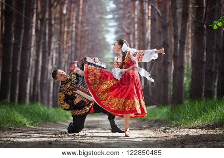Man and woman in Russian national dress