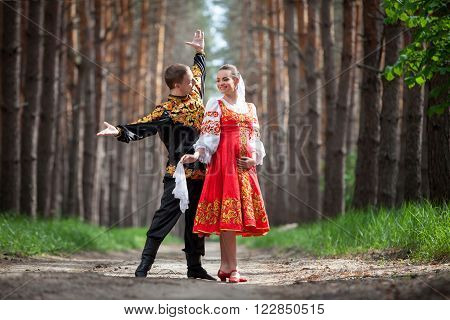 Man and woman in Russian national clothes ** Note: Soft Focus at 100%, best at smaller sizes