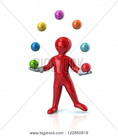 Red cartoon man juggles with colorful balls