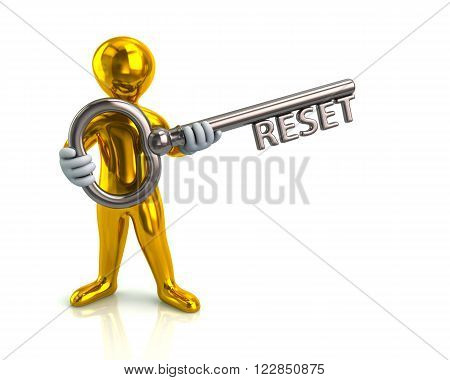 Golden Man And Silver Key With Reset
