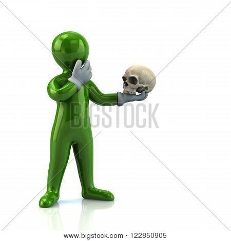 Green Cartoon Man And Skull