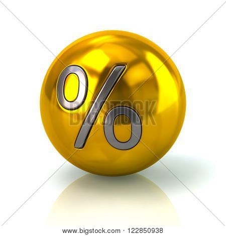 Golden Sphere With The Percent Symbol