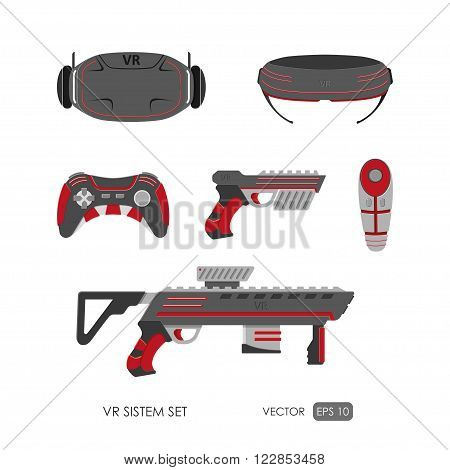 Set of accessories for virtual reality system on white background . VR collection. Vector illustration