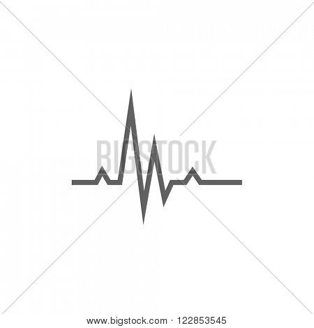 Heart beat cardiogram line icon.