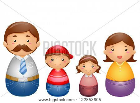 Illustration of a Set of Matryoshka Dolls Representing a Complete Family