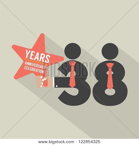 38 Years Anniversary Typography Design Vector Illustration. EPS 10