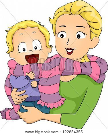 Illustration of a Mother Sharing a Scarf with Her Son