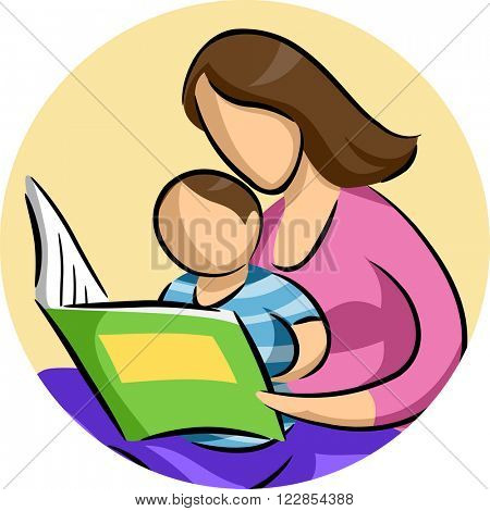 Illustration of a Mother Reading a Storybook to Her Son
