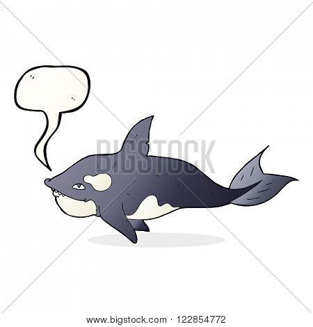 cartoon killer whale with speech bubble