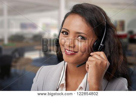 Portrait of pretty Malagasy technical support operator