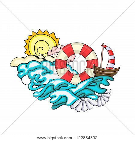 Cartoon style. Voyage and travel. Ship with sun and the sea. Vacation vector illustration
