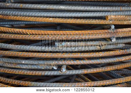 old grunge steel bar pile with rust
