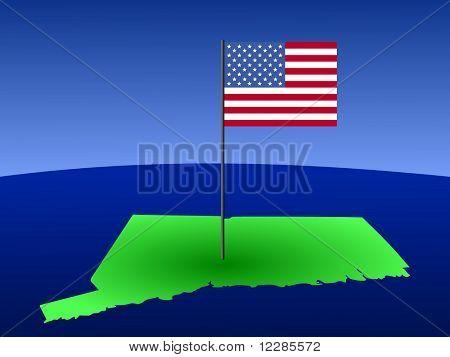 mapa de Connecticut con bandera americana en poste