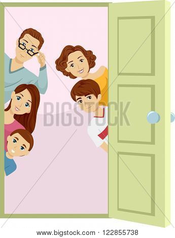 Illustration of an Open Door with a Family Peeking from Behind