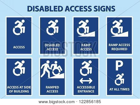 disabled access signs with modified international wheelchair symbol. vector illustration