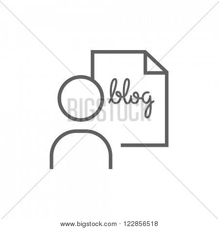 Man and sheet with word blog line icon.