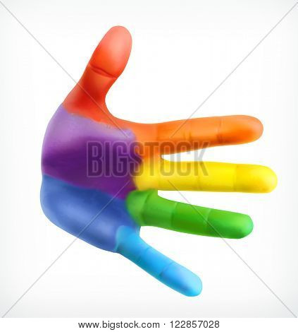 Color hand, friendship symbol, hand print in colors of the rainbow, vector icon isolated on white background