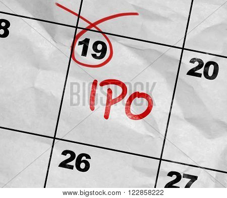 Concept image of a Calendar with the text: IPO