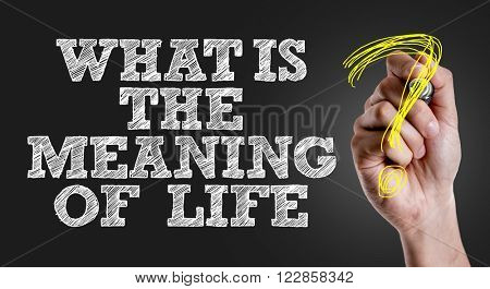 Hand writing the text: What Is the Meaning of Life?