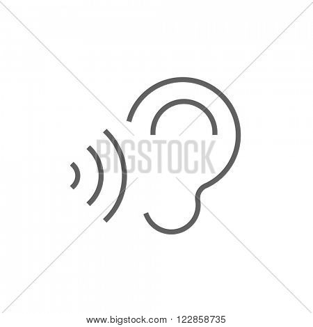 Ear and sound waves line icon.