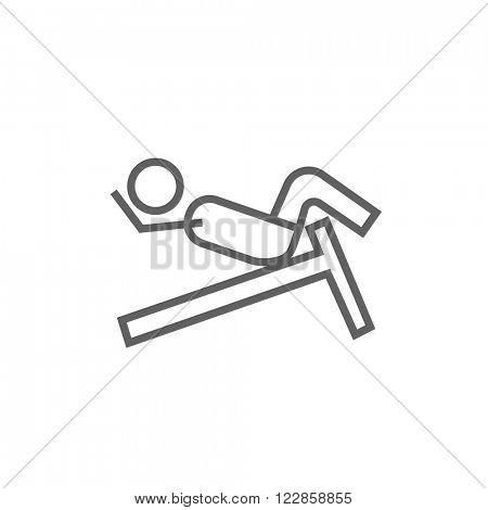 Man doing crunches on incline bench line icon.