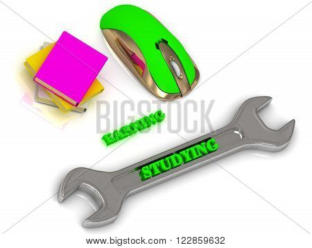 STUDYING bright volume letter on silver instrument textbooks and computer mouse on white background