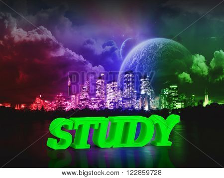 STUDY bright word night sky town moon river on white background