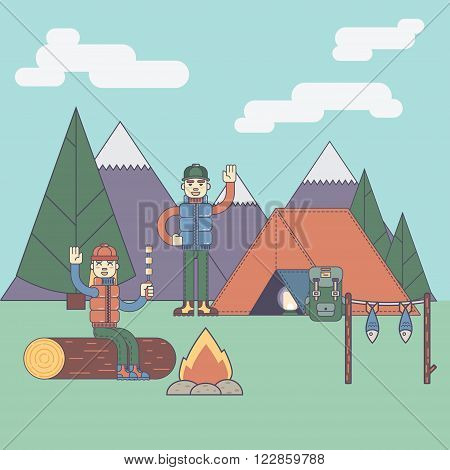 Friends next to camping fire vector illustration cartoon character