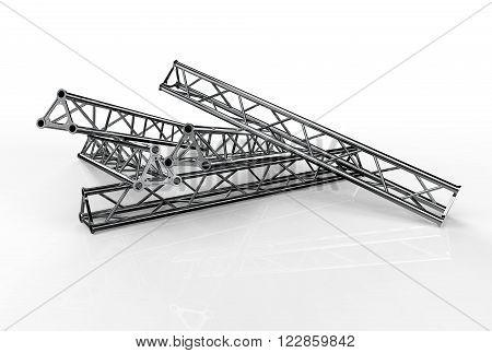 Aluminium trusses construction shape trio. Render image.