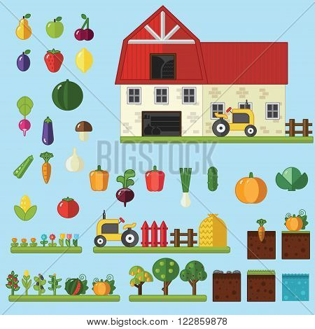 Beds trees flowers vegetables fruits hay farm building Vector flat illustrations