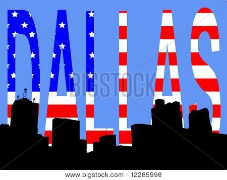 Dallas Skyline against American Flag illustration JPG