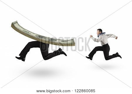 Man running after money with human legs isolated on white background.