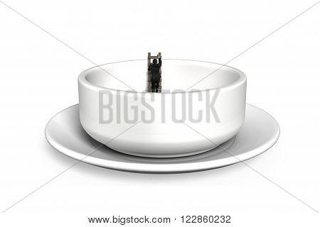 Businessman in empty soup bowl climbing wood ladder up isolated on white background.