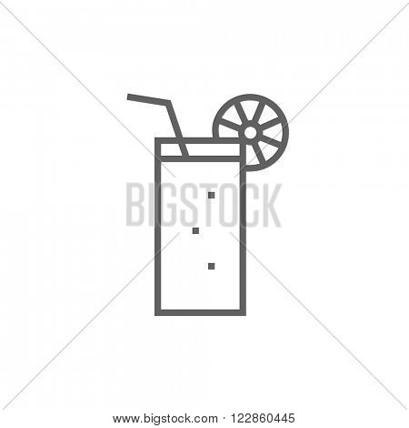 Glass with drinking straw line icon.