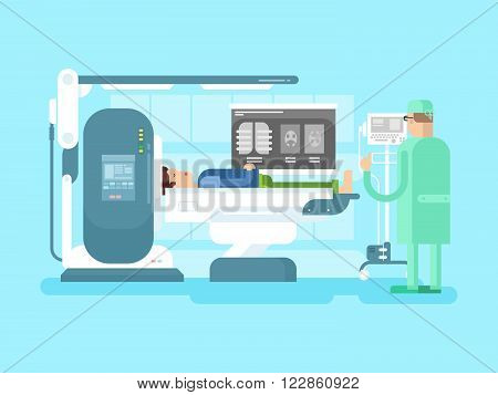 Cabinet with an MRI device. Medical hospital, machine equipment scanner, medicine scan, vector illustration