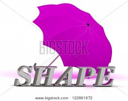 SHAPE- inscription of silver letters and umbrella on white background