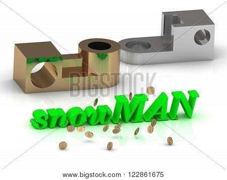 snowMAN - words of color letters and silver details and bronze details on white background