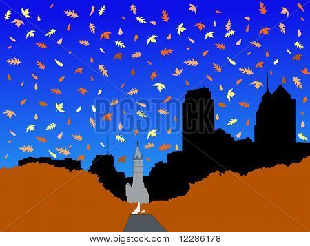 City Hall and Benjamin franklin Parkway Philadelphia in autumn