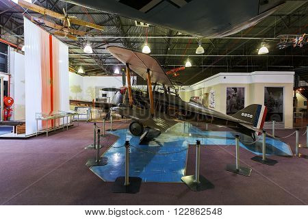 Johannesburg, South Africa - October 30, 2014: 1st World War royal aircraft scout experimental 5a (SE5a). National Museum of Military History in Johannesburg.