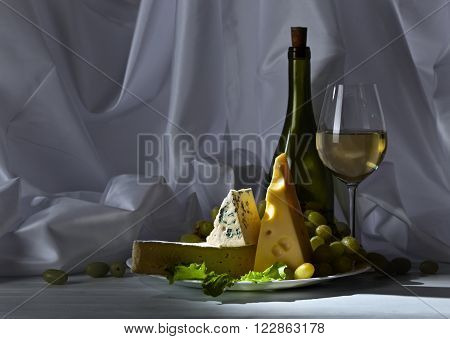 Cheese With Grapes And Wine