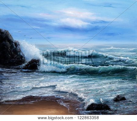 Original oil painting showing  ocean or sea on canvas. Modern Impressionism, modernism,marinism