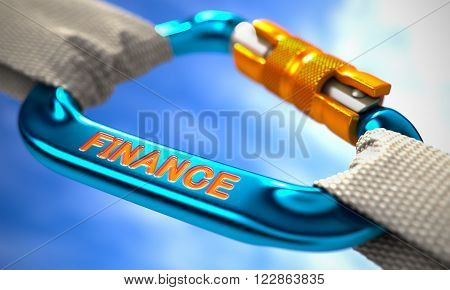 Strong Connection between Blue Carabiner and Two White Ropes Symbolizing the Finance. Selective Focus. 3D Render.