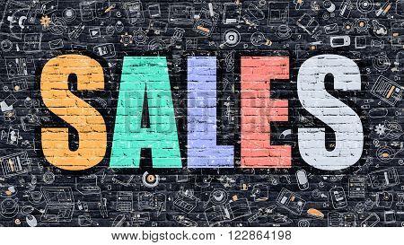 Sales Concept. Modern Line Style Illustration. Multicolor Sales Drawn on Dark Brick Wall. Doodle Icons. Doodle Design Style of Sales Concept. Sales on Dark Brick Wall. Sales.