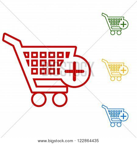 Shopping Cart and add Mark Icon. Set of line icons. Red, green, yellow and blue on white background.