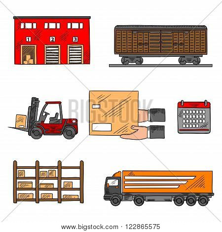 Storage and delivery service elements with freight wagon and delivery truck, warehouse building, forklift truck and rack with boxes, calendar and hands with box. Shipping, logistics and delivery theme