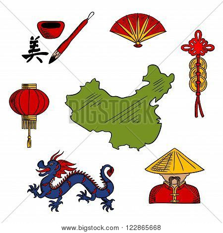 Chinese sketched icons with blue dragon and red paper lantern, folding fan and chinaman in bamboo hat, hieroglyph and coins with map of China. China travel and oriental culture design elements